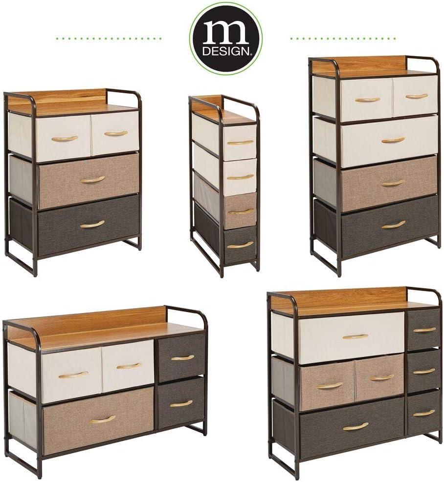 mDesign commode avec quatre tiroirs pour les v/êtements couvertures studios et petits espaces cr/ème//blanc etc table de chevet pour chambre table de nuit