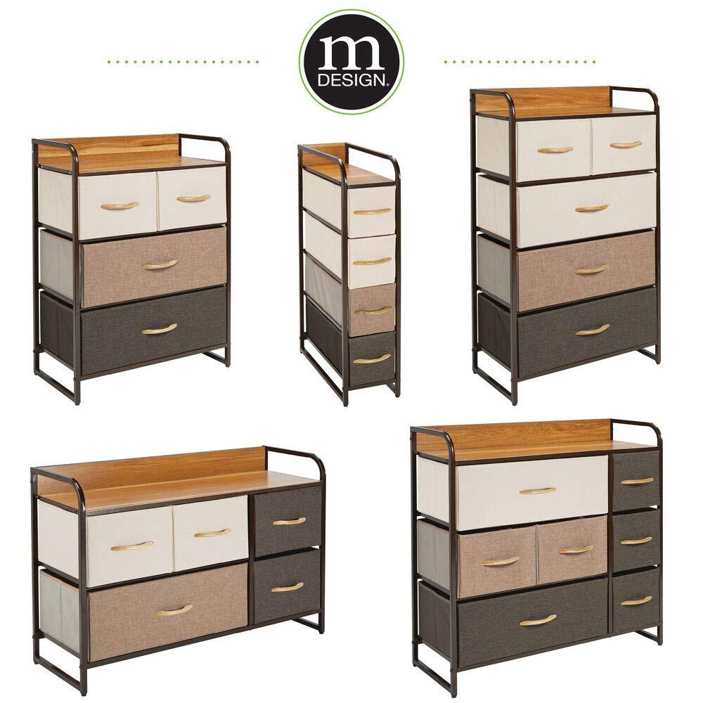 Kleiderkommode aus Metall mDesign Kommode mit 5 Schubladen braun MDF und Stoff breiter Schubladenschrank f/ür Schlafzimmer Wohnzimmer oder Flur