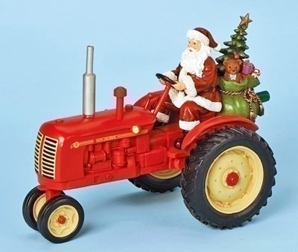 Christmas Decoration Santa On Tractor Musical Decoration Amazon Co Uk Kitchen Home