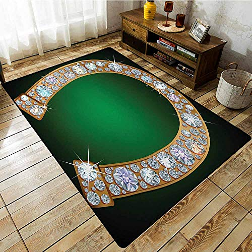Living Room Rug,Horseshoe Horseshoe Design Diamonds Fashion Treasure Crystal Figures Digital Print,Super Absorbs Mud,3'11