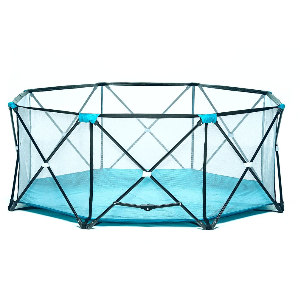 Portable Playard Gate Outdoor Indoor Play Area 8 Panel Kids Steel Flame Folding Travel Storage Bag Water Resistant Floor Easy Storage Lightweight for Garden Park Beach Camping & eBook by BADA Shop