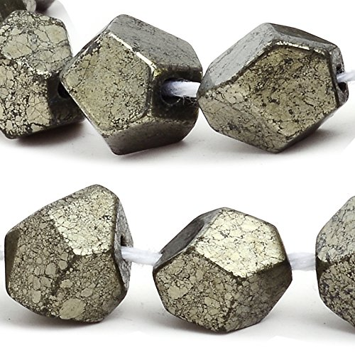 (RUBYCA Pyrite Gemstone Natural Nugget Loose Beads AAA Grade for DIY Jewelry Making (1 strand 47pcs))