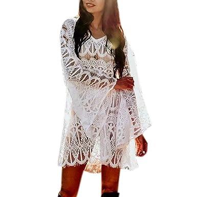 Amazon.com: LISTHA Lace Mini Dress Women See Though V Neck Casual Dress Bikini Cover Up: Clothing