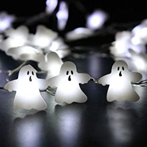 IMPRESS LIFE String Lights for Halloween Cosplay Party Decorations, Ghost Horrific Themed Lights 40 LEDs 10 ft Remote & Timer for Home, Living Room, Office, School Decorative Ideas