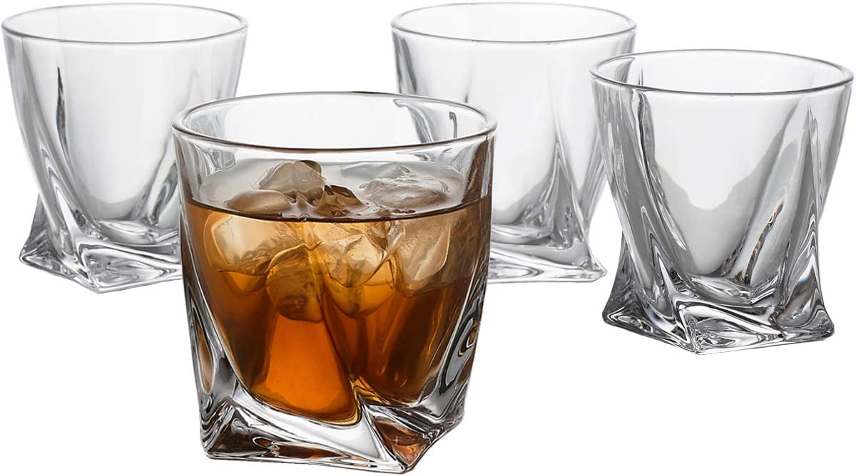 GoodGlassware Swirl Whiskey Glasses (Set of 4) 10 oz - Premium Glass Tumblers with Heavy Base and Unique Swirl Design - Lead-Free, Dishwasher Safe, Perfect for Drinking Spirits