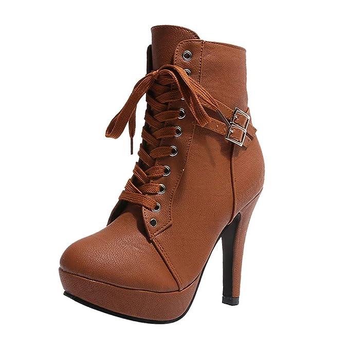 Zapatos Mujer,ZARLLE Zapatos De Mujer Botines Cortos Botas De Plataforma con Cordones De Cuero De Cabeza Redonda De Mujer De Moda Botas De TacóN Alto Casual ...