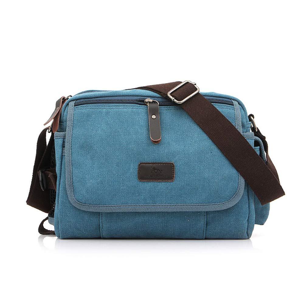 Men Messenger Bags Small Solid Color Casual Crossbody Shoulder Bag Men Leisure Sling Bag Male Handbag Blue L27cmW10cmH21cm