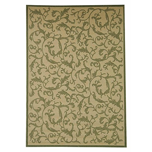 Safavieh Courtyard Collection CY2653-1E01 Natural and Olive Indoor/ Outdoor Area Rug, 5 feet 3 inches by 7 feet 7 inches (5'3