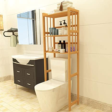 Heavy Duty Storage Unit Over The Toilet Bathroom Large Spacesaver Wood Brown New