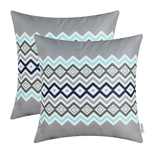 Aqua Striped Pillow (Pack of 2 CaliTime Canvas Throw Pillow Covers Cases for Couch Sofa Home Decor, Bohemian Style Colorful Zigzag Striped Geometric, 18 X 18 Inches, Grey)