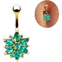 Sanwood® Beautiful Flower Cubic Zirconia Belly Button Bar Barbell Navel Ring Body Piercing Jewelry