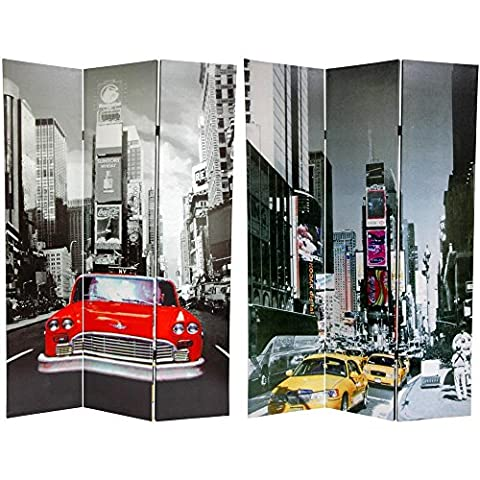 Oriental Furniture 6 ft. Tall New York City Taxi Double Sided Room Divider (One Direction Huge Posters)