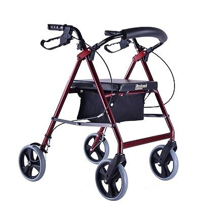 ayudas para caminar, plegable anciano Scooter carrito de compras de ancianos bolso rojo con ruedas