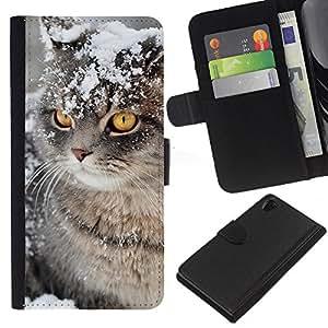 Snow Winter Manx Cat American Curl - la tarjeta de Crédito Slots PU Funda de cuero Monedero caso cubierta de piel Sony Xperia Z2 D6502