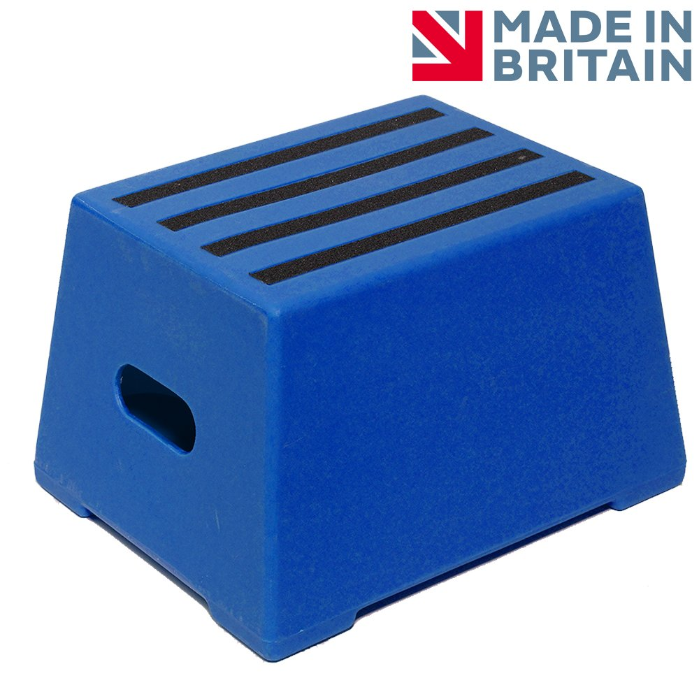 1 Tread Heavy Duty Blue Plastic Moulded Safety Block Step Premium Step