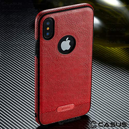 Case+Tempered_Glass, Luxury PU Leather Back & Side Grip Fits Apple iPhone 6 Plus/6S Plus Crafted with Exquisite Quality and Taste Ultra Thin Soft TPU Snap on - Red