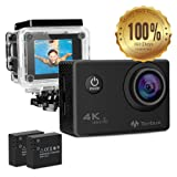 4K Action Camera Waterproof Tonbux WIFI 16MP 170 Degree Wide Angle Lens with Sony Sensor, Mount Accessories and 2 x 1050mAh Rechargeable Batteries Included for Bicycle Diving Underwater 30Meters