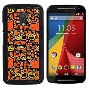 For Motorola MOTO G 2ND GEN II Case , Orange Pumpkin Black Holiday - Diseño Patrón Teléfono Caso Cubierta Case Bumper Duro Protección Case Cover Funda