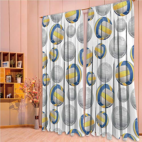 ZHICASSIESOPHIER Finel Kids Curtains for Living Room Bedroom Window Curtains Baby Room Lovely Children Curtains Drapes,Balls Sports Icons Activity Hobby Team Game 84Wx63L -