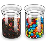 ZENS Glass Canisters Jar with Lid, Airtight Sealed 15 Fluid Ounce Spice Jars Sets of 2, Clear Small Kitchen Storage Containers for Herbs,Tea