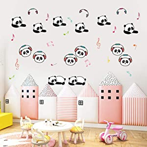 IARTTOP Adorable Panda Wall Decal,Lovely Listen Music Panda Wall Sticker Colorful Musical Note Decals for Kids Room Classroom Nursery Wall Art Decor(40pcs)