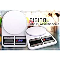 Alfa Mart Digital Ultimate Kitchen Electronic 10 kg weight best Scale Weighing Machine with Backlit LCD for Shop, Food, Cake, Kids, Spices, Vegetable, Liquids, Chicken, Fruits (White)