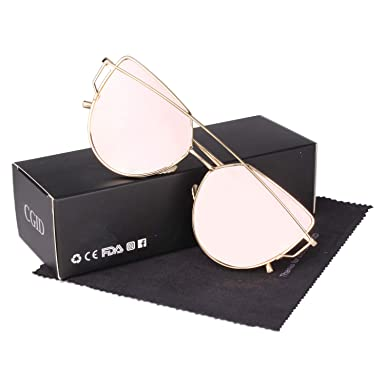 6ffbce9a7 CGID MJ74 Women's Modern Fashion Mirror Polarized Cateye Sunglasses Goggles  UV400,Gold Pink