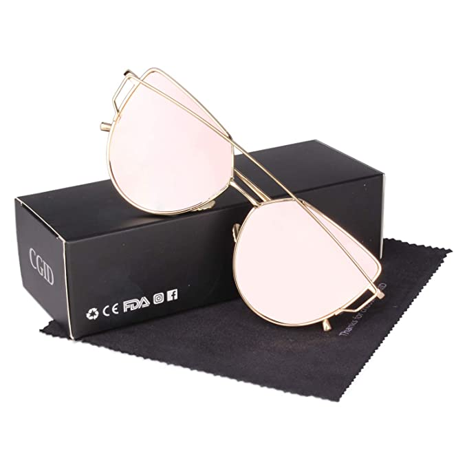 ea7aa9b8e570 CGID MJ74 Women s Modern Fashion Mirror Polarized Cateye Sunglasses Goggles  UV400
