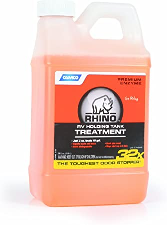 Amazon Com Camco 41514 Rhino Heavy Duty Holding Tank Treatment Eliminates Tough Odors In Your Rv Tote Tank For Up To 7 Days And Digests Waste And Tissue Pine Scent 64 Oz Automotive