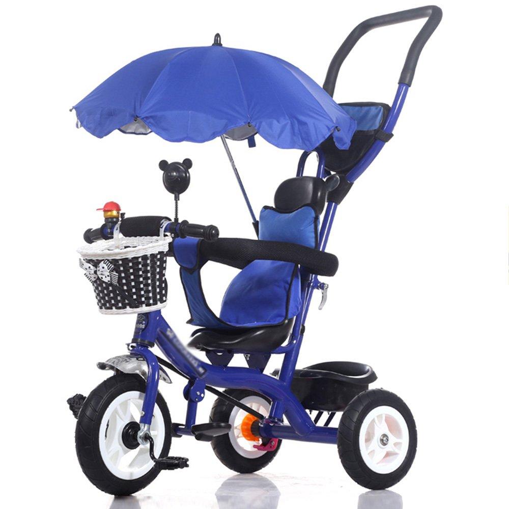 HAIZHEN マウンテンバイク 赤ちゃんの子供の自転車子供の三輪車のカート赤ちゃんのキャリッジ子供の自転車3ホイール、(ボーイ/ガール、1-3-5歳)子供の贈り物 新生児 B07C6QF5S2 青 青