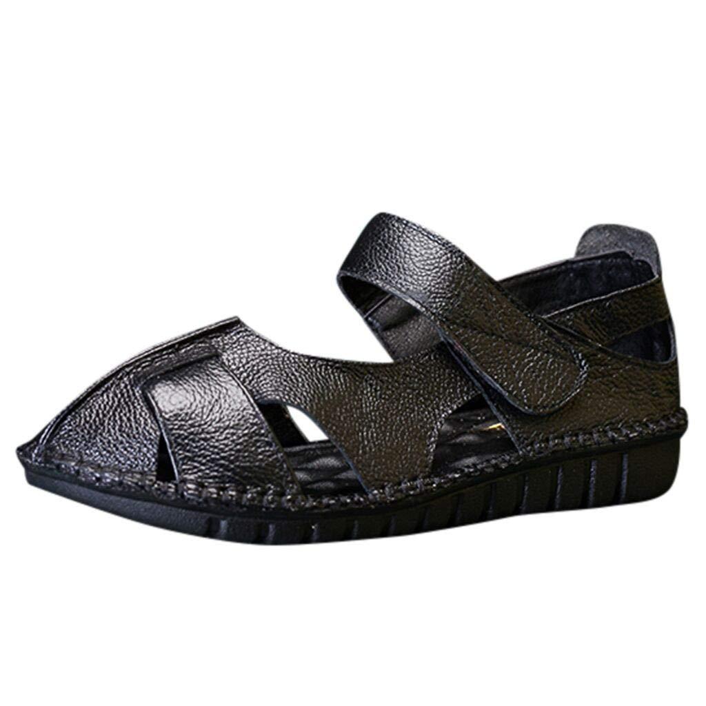 〓COOlCCI〓Women's Leather Sandals Flats Comfortable Summer Non-Slip Hollow Closed Toe Sandals Walking Driving Shoes Black by COOlCCI_Shoes
