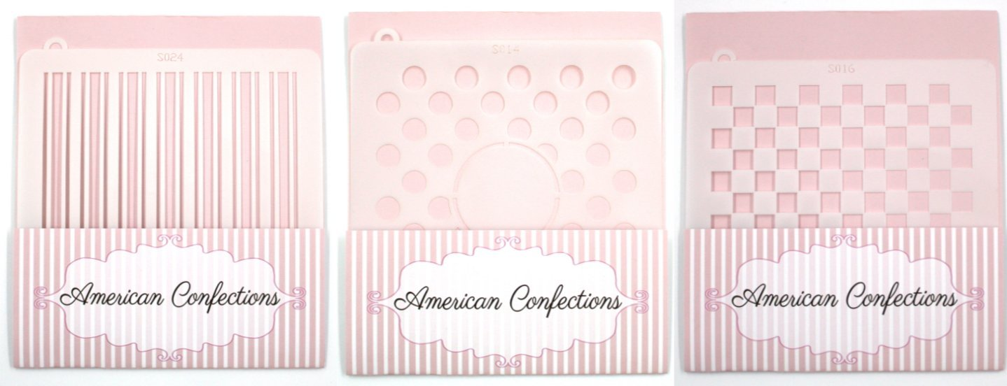 American Confections Stripes, Squares & Polkadot Cookie Stencil Bundle of 3