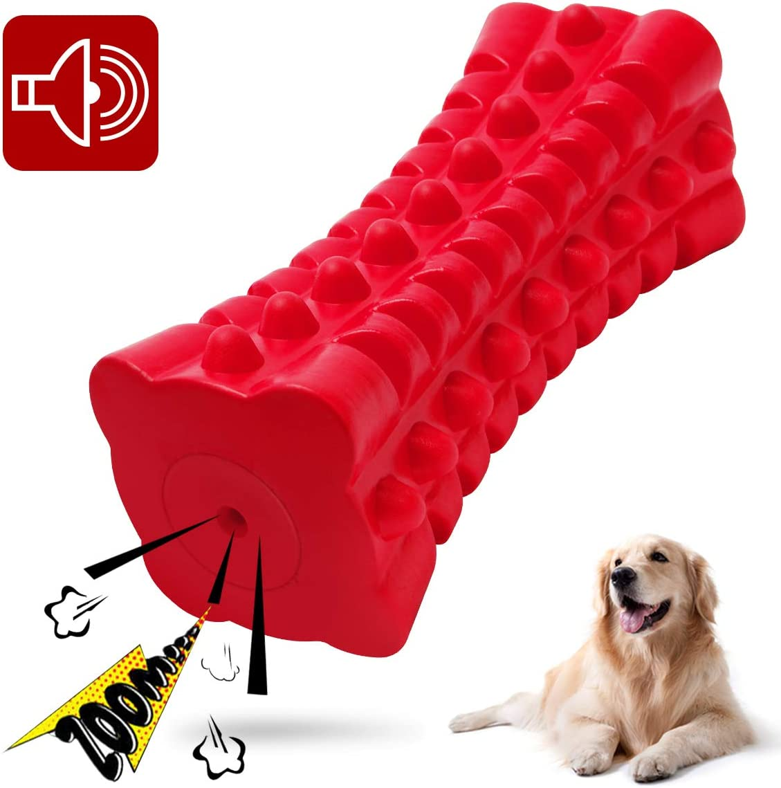 VANFINE Dog Squeaky Toys Almost Indestructible Tough Durable Dog Toys Dog chew Toys for Large Dogs Aggressive chewers Squeaky Stick Toys Puppy Chew Toys with Non-Toxic Natural Rubber