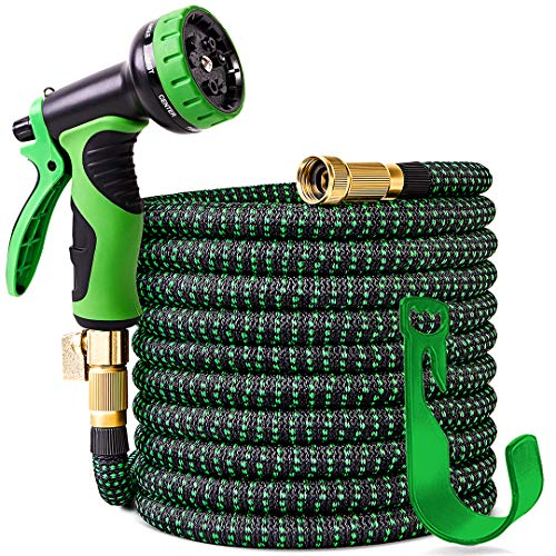 "100 ft Expandable Garden Hose,Upgraded Leakproof Lightweight Garden Water Hose with 3/4"" Solid Brass Fittings,Extra Strength 3750D Durable Gardening Flexible Hose,Expanding Garden Hoses Spray Nozzle ..."