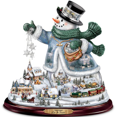 The Bradford Exchange Thomas Kinkade Snowman Tabletop Centerpiece: Let It Snow (Thomas Kinkade Victorian Christmas Snowman)
