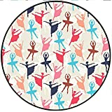 Short Plush Rugs mat Artistic Theme Ballerinas Silhouettes in Dance Poses Illustration Egg Shell Sky Blue Game Kids Room 59'' x 59'' Round