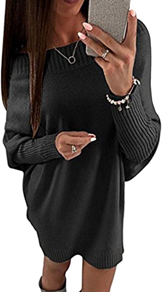 Minetom Damen Herbst Winter Strickkleid Elegant Schulterfrei Langarm Pullover Kleid Lose Sweater Dress Oversized Minikleid