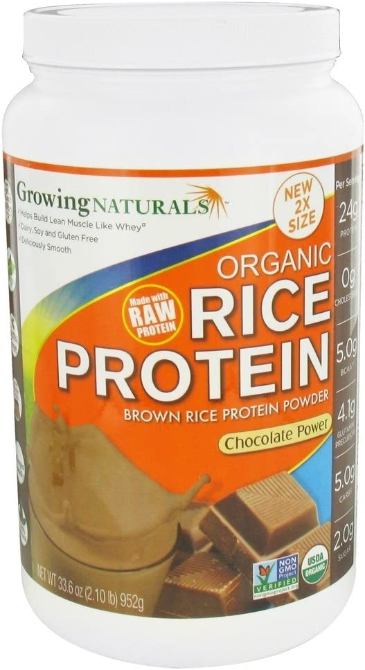 Growing Naturals Organic Rice Protein Powder, Chocolate, 952 Gram: Health & Personal Care