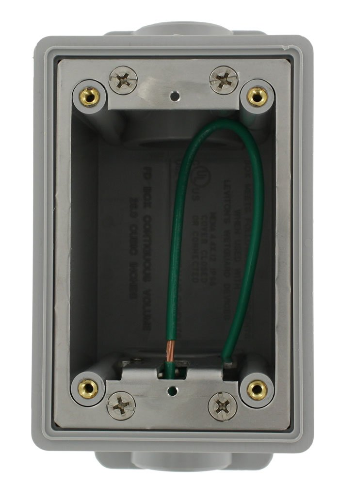 Leviton FDBX1-GY FD Box, Single-Gang, 26.0 Cubic Inch Capacity, 1-Inch NPT Openings, Includes Plugs and Stainless Steel Mounting plate, Ground Wire, Gray