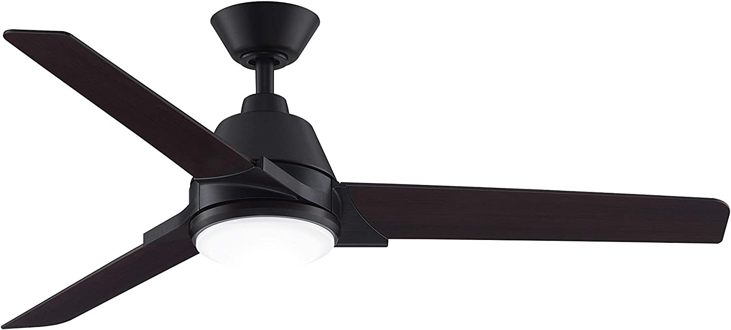 Fanimation Studio Collection LP8406LAZ Pyramid Ceiling Fan with LED Light Kit, 52 Inch, Aged Bronze with Dark Walnut Blades