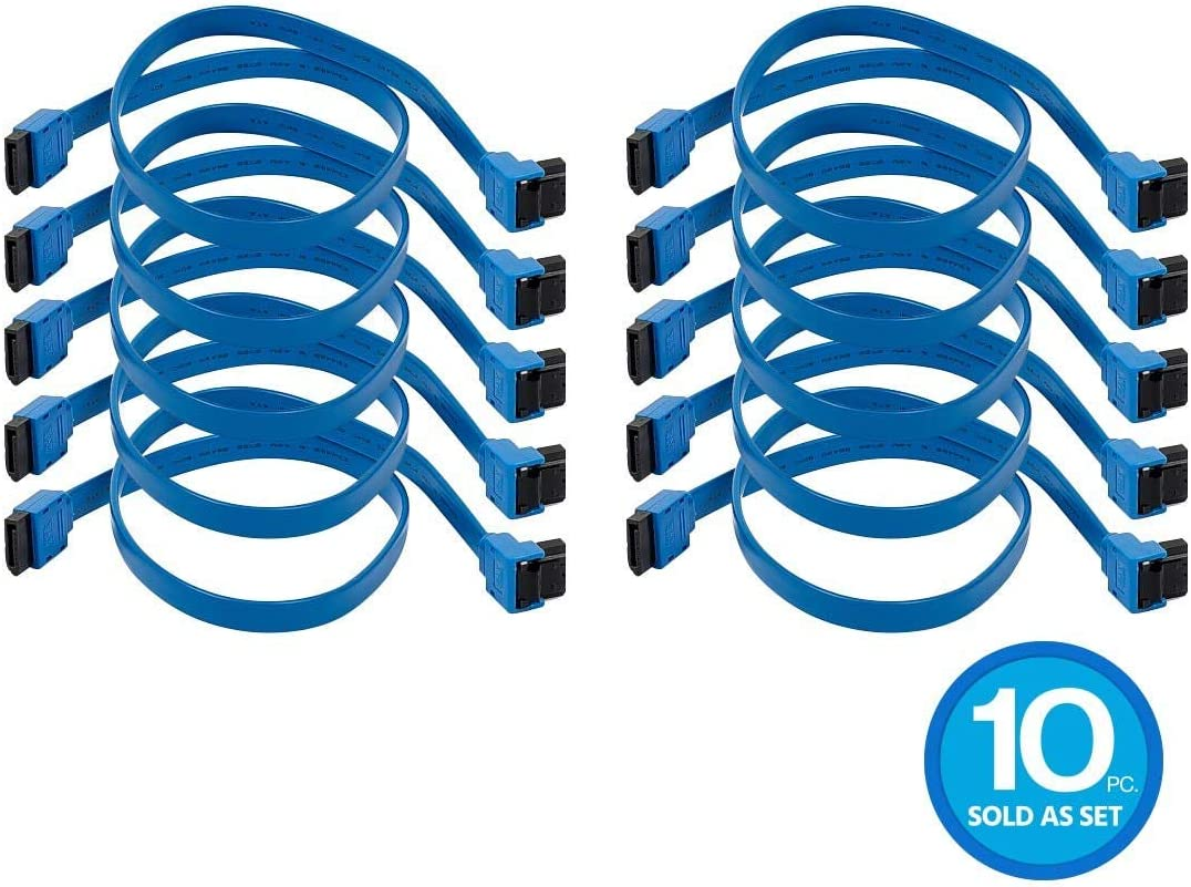 90 Degree to 180 Degree Blue Monoprice 10 Pack 18in SATA 6Gbps Cable with Locking Latch
