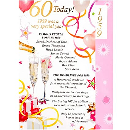 Tarjeta de felicitación de cumpleaños para mujer, 60 años de ...