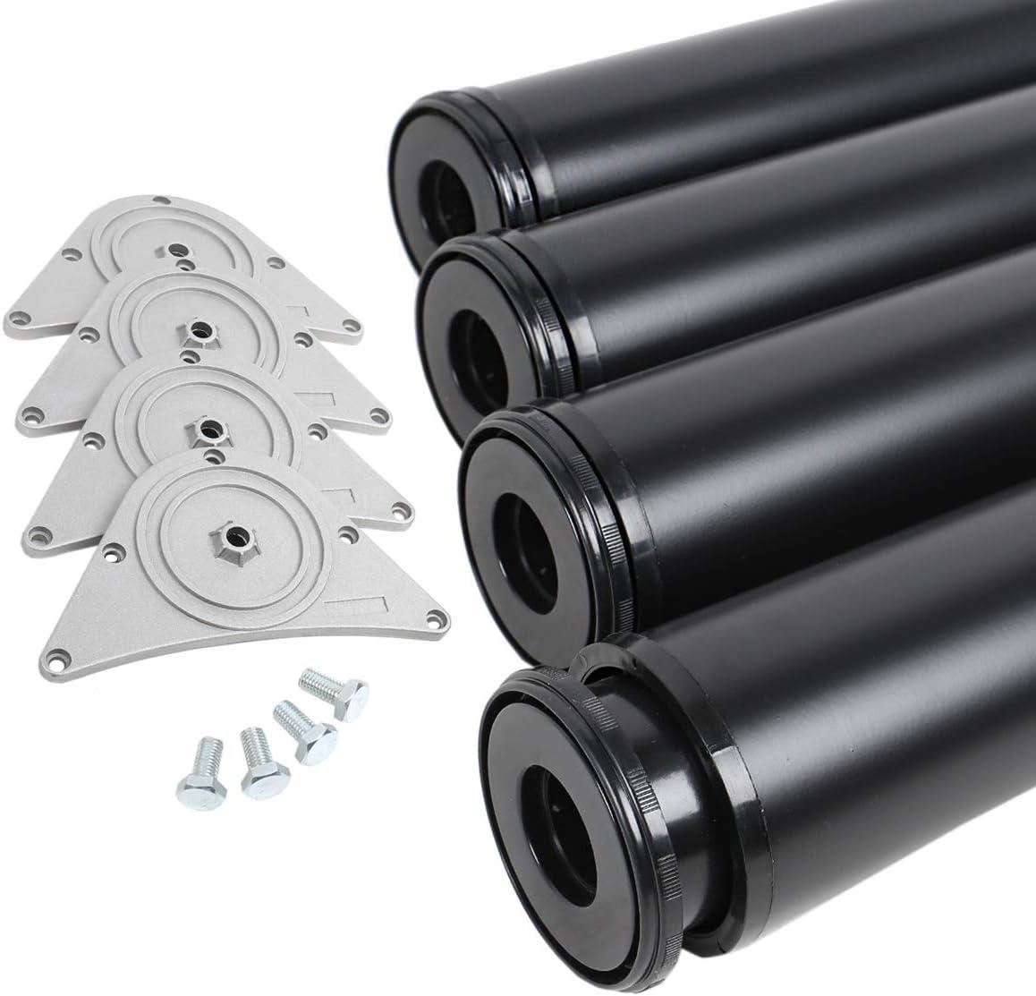 MS herrajes® Juego de 4patas patas para muebles mesa sello Altura 870mm de diámetro 80mm Negro