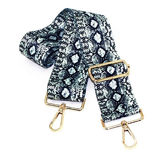M-W 2 Wide 29-51.5 Adjustable Length Handbag Strap Purse Strap Canvas Replacement Strap Crossbody Strap, With 2Pcs Golden Metal Buckles (Style7)