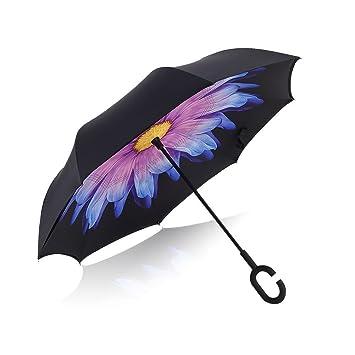 deerbird® Compacto Paraguas invertido doble capa color Manos libres resistente al viento protección UV margaritas