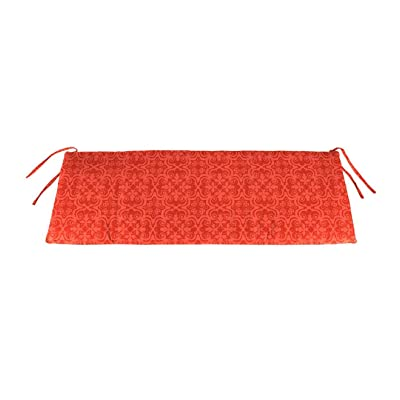 Plow & Hearth Polyester Classic Swing/Bench Cushion, 47 x 16 x 3 - Persimmon Block Print : Garden & Outdoor