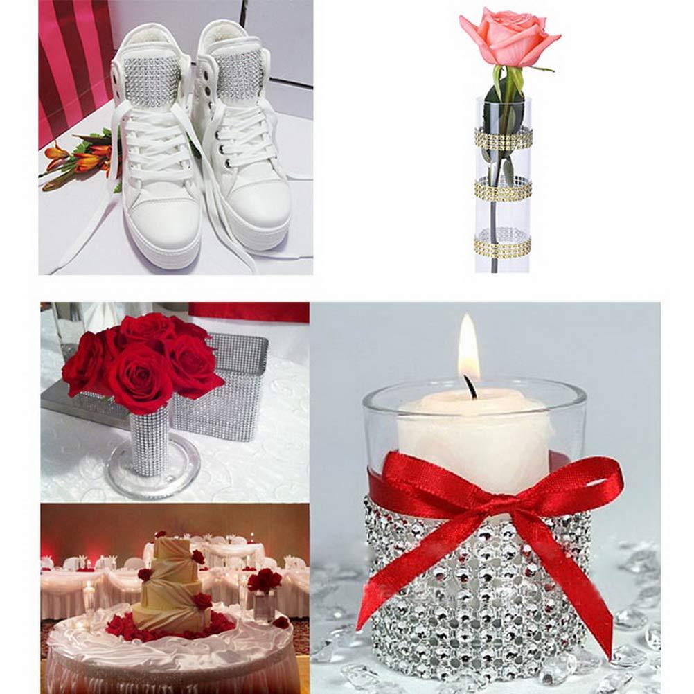 Birthday Silver Color Scissor 4 Row 10 Yard Acrylic Rhinestone Diamond Ribbon Arts and Crafts Rhinestone Trim for Wedding Cakes