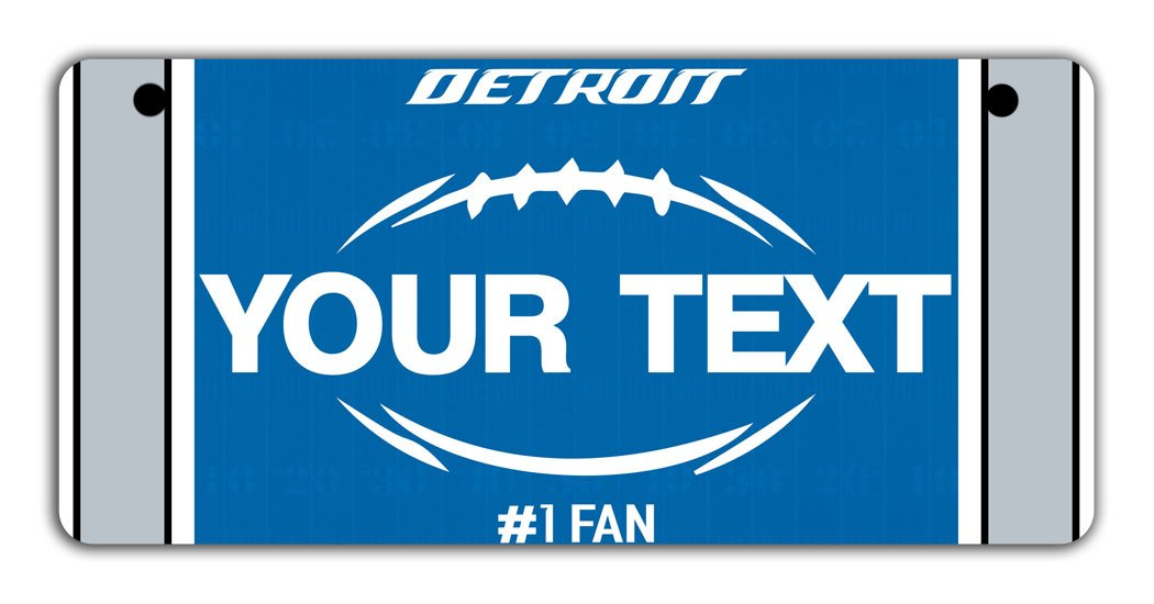 BRGiftShop Personalize Your Own Football Team Detroit Bicycle Bike Stroller Childrens Toy Car 3x6 License Plate Tag
