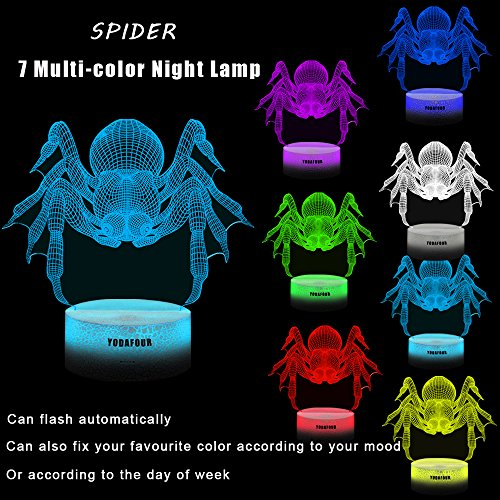 Christmas Gift 3D Night Light 3D Illusion Animal Lamp Xmas Halloween Birthday Anniversary Gift Nursery LED Table Night Lamps Lights for Baby Kids Children Animal Lovers by YODAFOUR (Spider)