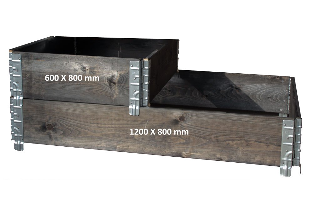 raised bed Hans Schourup 35903610/wooden stacking frame for Euro pallets for storage black 1//2/Euro Size 600/mm x 800/mm x 200/mm logistics